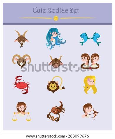 Set of twelve signs of the Zodiac - stock vector