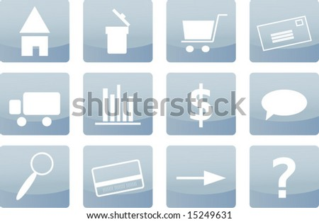 Set of twelve soft blue web icons with typical internet symbols, for website and e-commerce purposes (vector) - stock vector