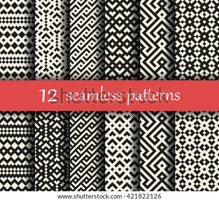 Set of twelve vector geometric patterns. Patterns added to the swatches panel - stock vector