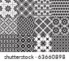 Set of twelve vector geometric seamless patterns - stock photo