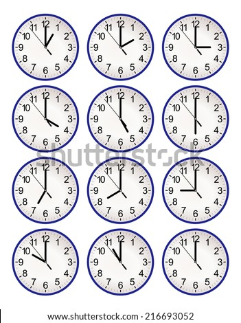 Set of twelve wall clock for every hour, to indicate world international time zone. Different time, isolated on white background eps10, school, airport and office design vector art image illustration - stock vector