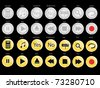 Set of twenty eight silver and gold buttons for your web design. On black background - stock vector