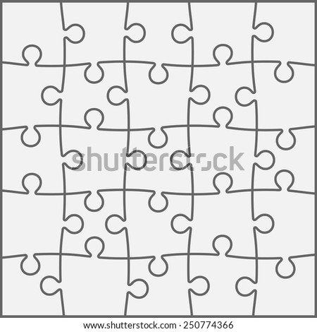 Set of twenty five puzzle pieces. Vector illustration, eps 8. - stock vector