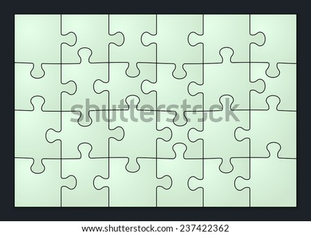 Set of twenty four puzzle pieces. Isolated on black background. Vector illustration, eps 10. - stock vector