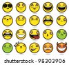 Set of twenty funny emoticons - stock vector