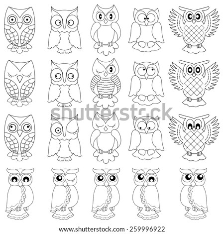 Set of twenty funny owls, black vector contour isolated on white background - stock vector