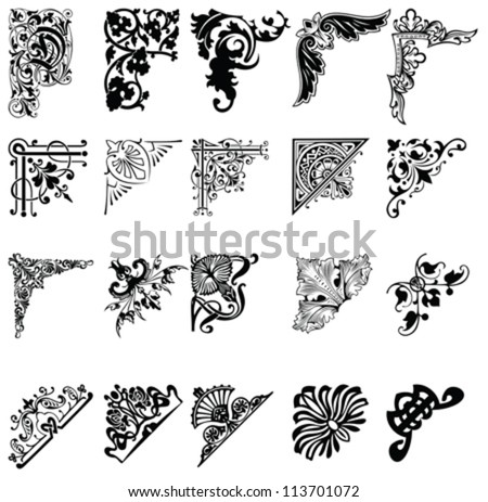 Set Of Twenty One Color Corners. Elements Of Design. - stock vector