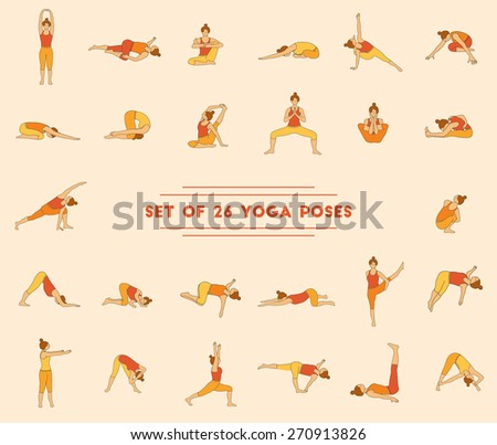 Set of twenty six yoga poses. Collection of asanas. Warm colors. - stock vector