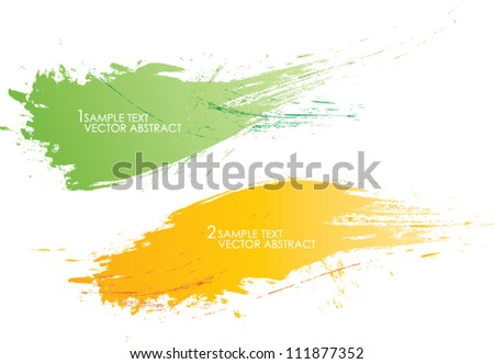 set of two abstract banners vector background brush strokes illustration - stock vector