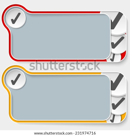 set of two abstract text boxes with check box - stock vector