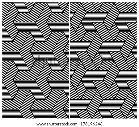 Set of Two B&W Seamless Patterns. Abstract Elements. Vector Illustration - stock vector