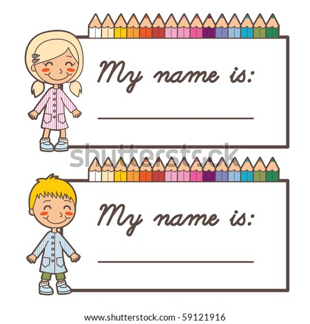 Set of two back to school name tag stickers for boy and girl with copy space - stock vector