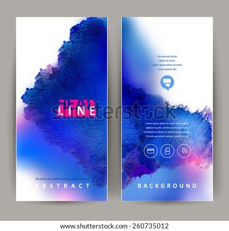 set of two banners, abstract headers with blue blots  - stock vector