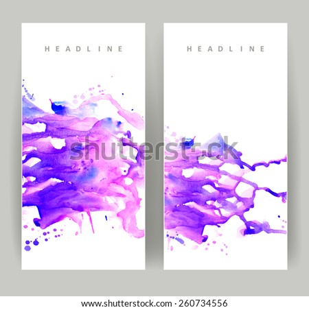 set of two banners, abstract headers with purple blots  - stock vector