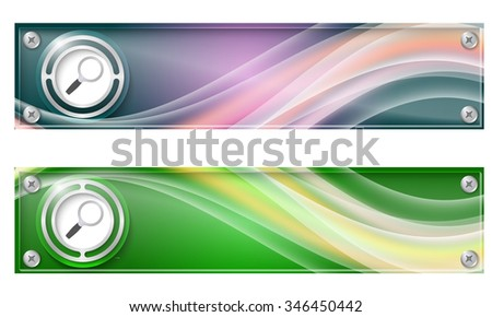 Set of two banners with colored rainbow and magnifier - stock vector