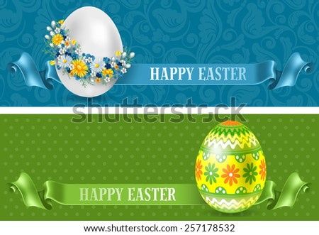 Set of two beautiful horizontal Easter flyers. Vector illustration. - stock vector