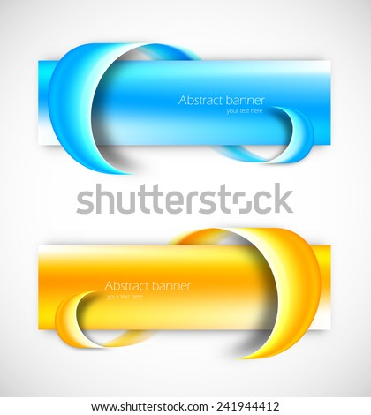 Set of two blue and orange banners with roll effect - stock vector