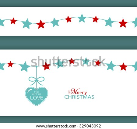 Set of two borders which will tile seamlessly. Stars hanging on a string with a heart with ribbon saying The Gift of Love. - stock vector