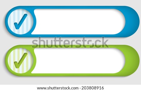 set of two buttons with check box - stock vector