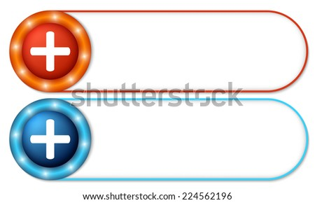 set of two buttons with plus symbol