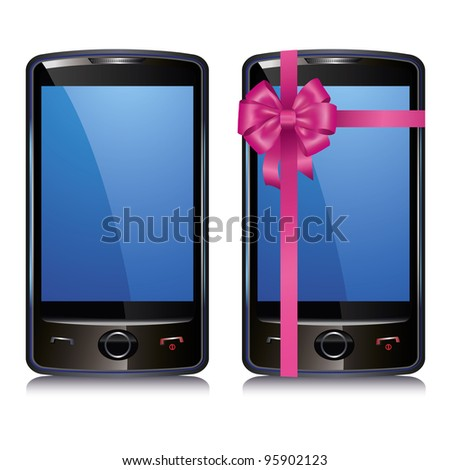Set of two cell smart phone isolated on white background