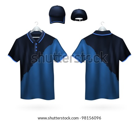 Set of two-color Polo shirts and caps template for men. - stock vector
