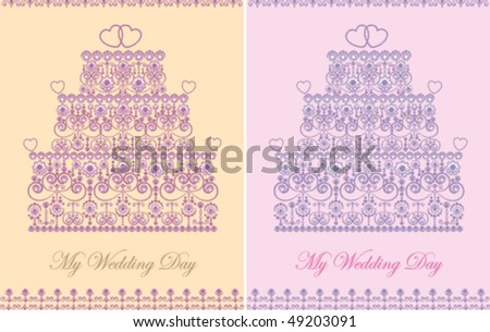 Set of two color variations of elegant wedding invitations with cake in decorative style