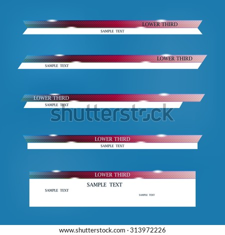 Set of two-colored banners with a white substrate on a blue background of lower third. Vector illustration. - stock vector