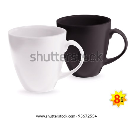 Set of two cups. Mesh only design. - stock vector