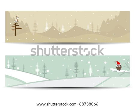 set of two  decorative headers for Christmas and autumn having Christmas trees, bird & an owl wearing Santa cap for Christmas & autumn - stock vector