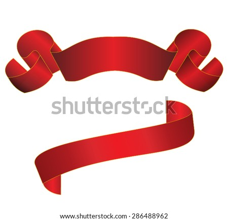 Set of two elegant red ribbons - stock vector