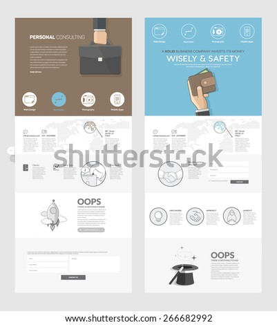 Set of two flat pages website design templates with banners and concept icons, for business, finance, consulting  company portfolio. - stock vector