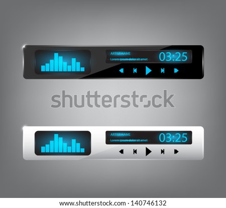 Set of two glossy media players with shiny lights for websites (UI) or applications (app) for smartphones or tablets. Clean and modern style - stock vector