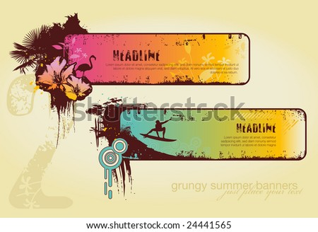 set of two grungy summer banners - stock vector