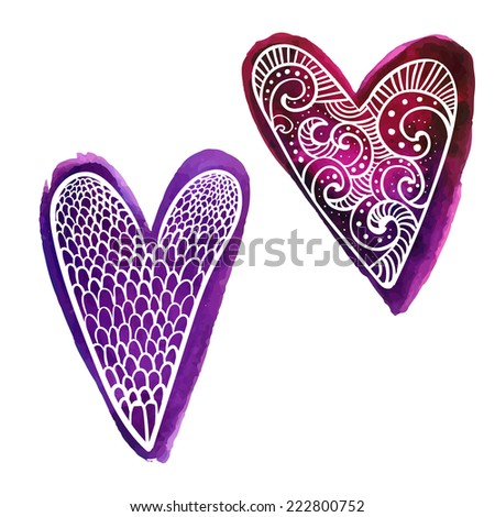 Set of two hand drawn purple watercolor paint hearts with doodles white pattern - stock vector