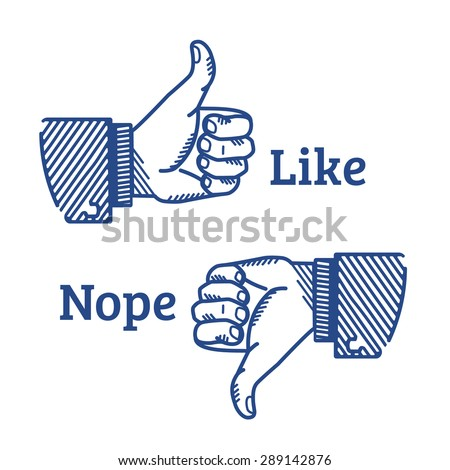 Set of two hands with thumb fingers up and down illustrated in retro style. Like and dislike icon isolated on white background. Retro thumb like symbol for social media blue button  - stock vector