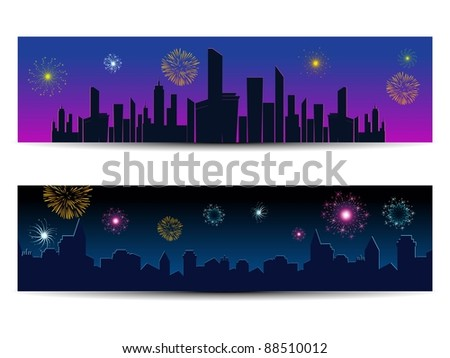 set of two header of new year night celebration - stock vector