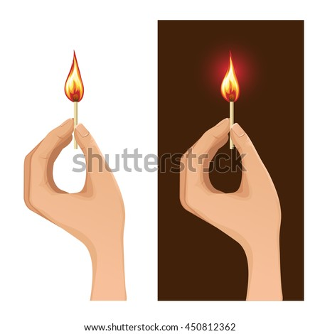 Set of two images with hand holding burning match on white and dark backgrounds, vector image