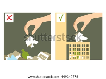 Set of two images with hand throwing rubbish on the floor and in the waste-basket, wrong and right sign, vector image