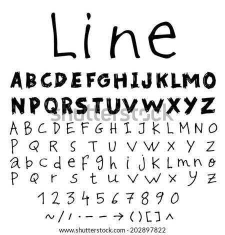Set of two line sketch font.Hand drawn Vector. - stock vector