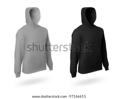 Set of two men's hoodie templates.