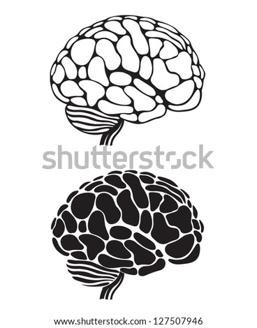 set of two monochrome human brain illustrations