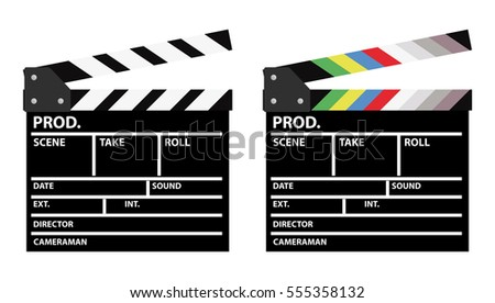 Set of two movie clappers, one in color