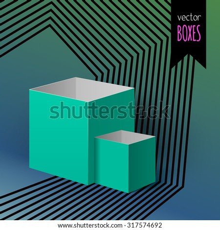 Set of two open boxes for your design on the colorful striped background with gradient - stock vector