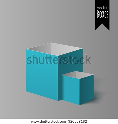 Set of two open colorful boxes for your design isolated on the light background with gradient - stock vector