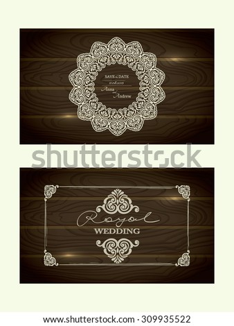 Set of two Royal Wedding CARDS with vintage Frames  in wood textured vector background - stock vector