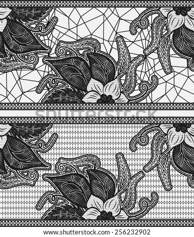 Set of two seamless lace ribbon. Black floral pattern. Vector illustration.