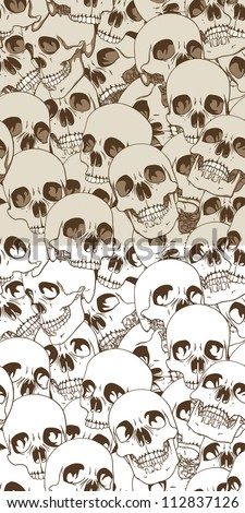 Set of Two Seamless Patterns. Human Skulls Background. Vector Illustration - stock vector