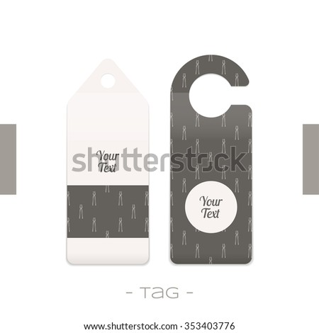 Set of two tags with the pattern of forging tools and place for text on a white background - stock vector
