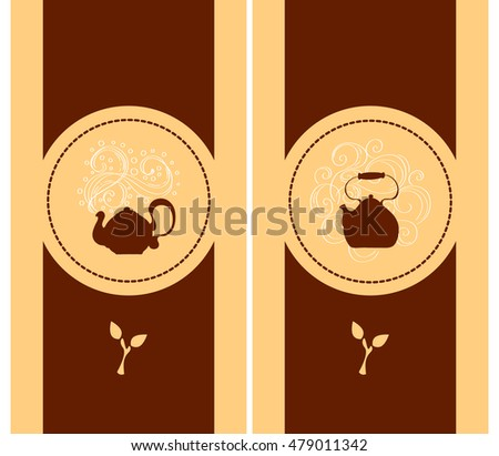 Set of two templates for decoration of the packaging of tea with elegant hand-drawn steam kettle and swirls around. Vector minimalistic design in warm shades - beige, brown and white,  EPS 10.